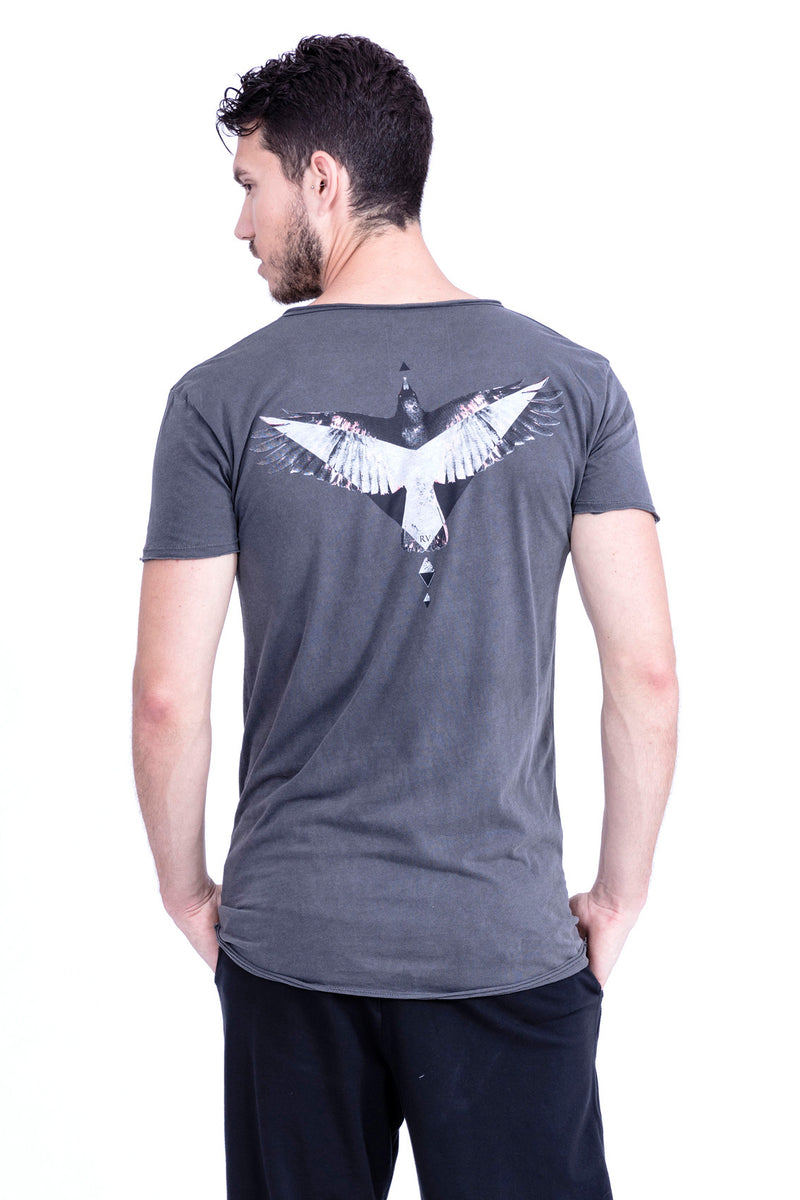 Raven - Raven - V Neck - Tshirt - Cut Off - with pocket - Colour Antracite 3
