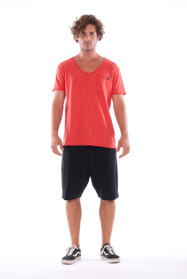 V neck - Tshirt - Cut Off - with pocket - Colour Red and Short Pants - Colour Black -1
