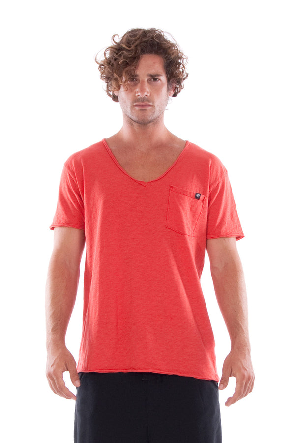 V neck - Tshirt - Cut Off - with pocket - Colour Red and Short Pants - Colour Black -2