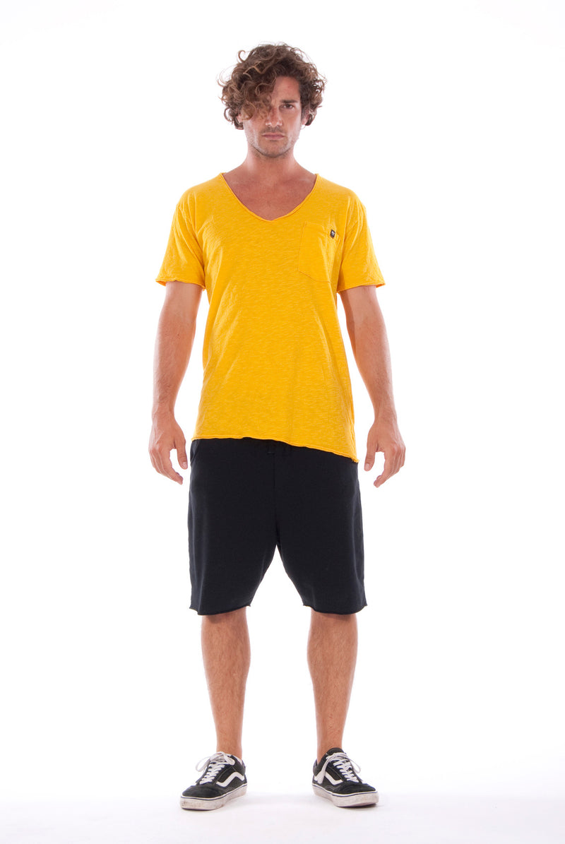 V neck - Tshirt - Cut Off - with pocket - Colour Yellow and sShort Pants - Colour Black -1