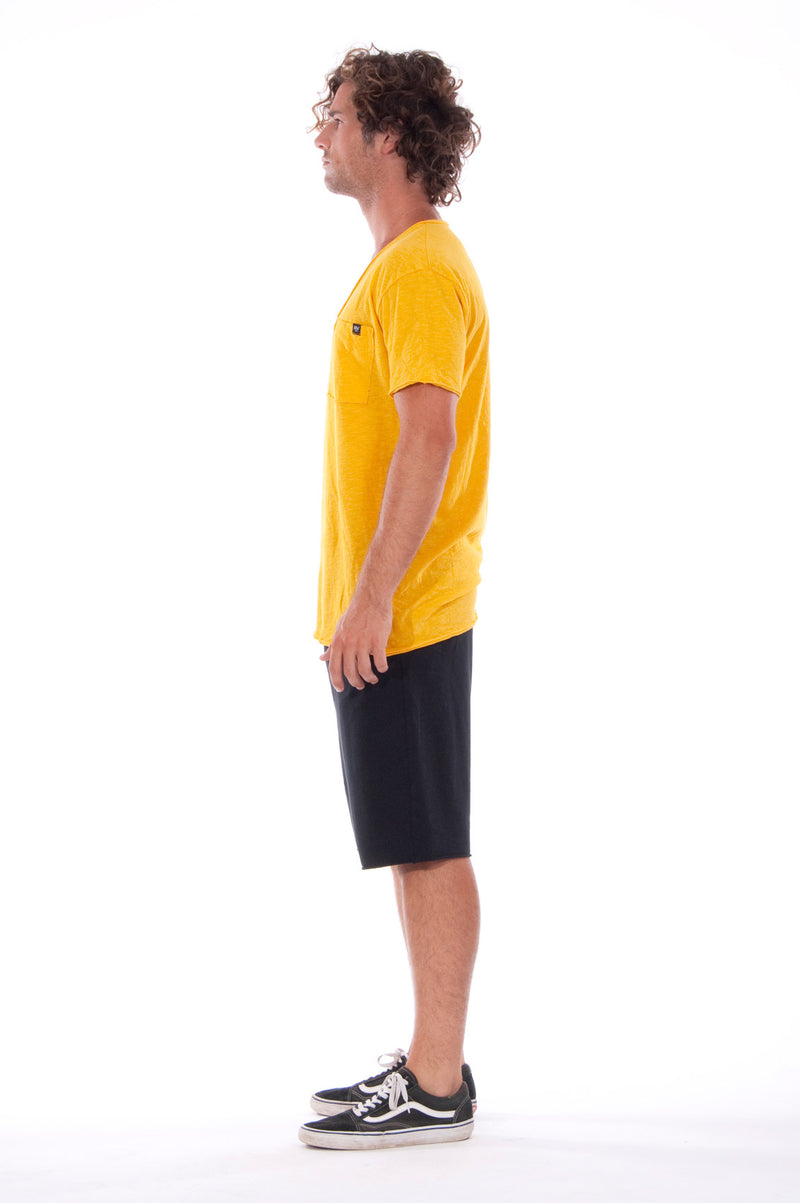 V neck - Tshirt - Cut Off - with pocket - Colour Yellow and sShort Pants - Colour Black -3