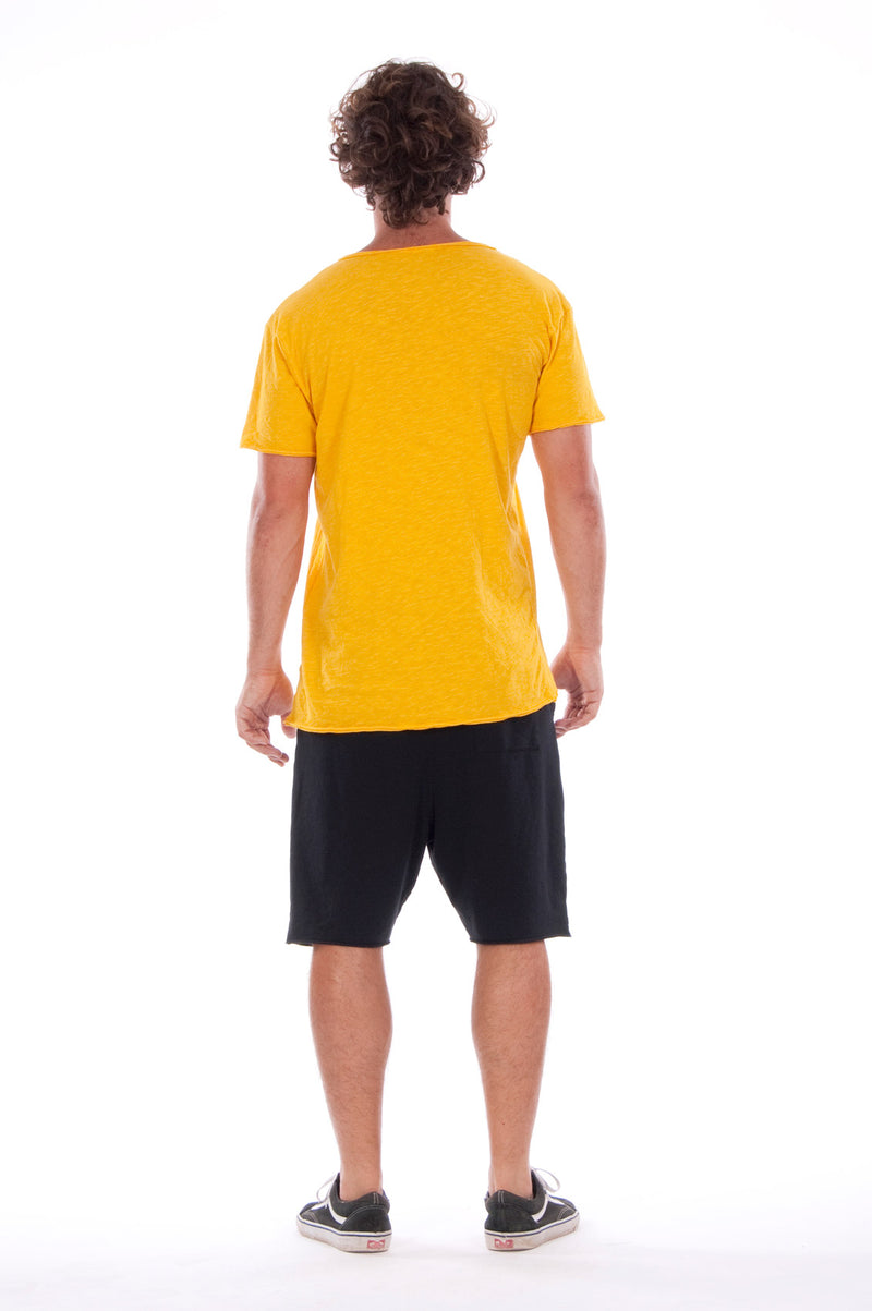 V neck - Tshirt - Cut Off - with pocket - Colour Yellow and sShort Pants - Colour Black -4