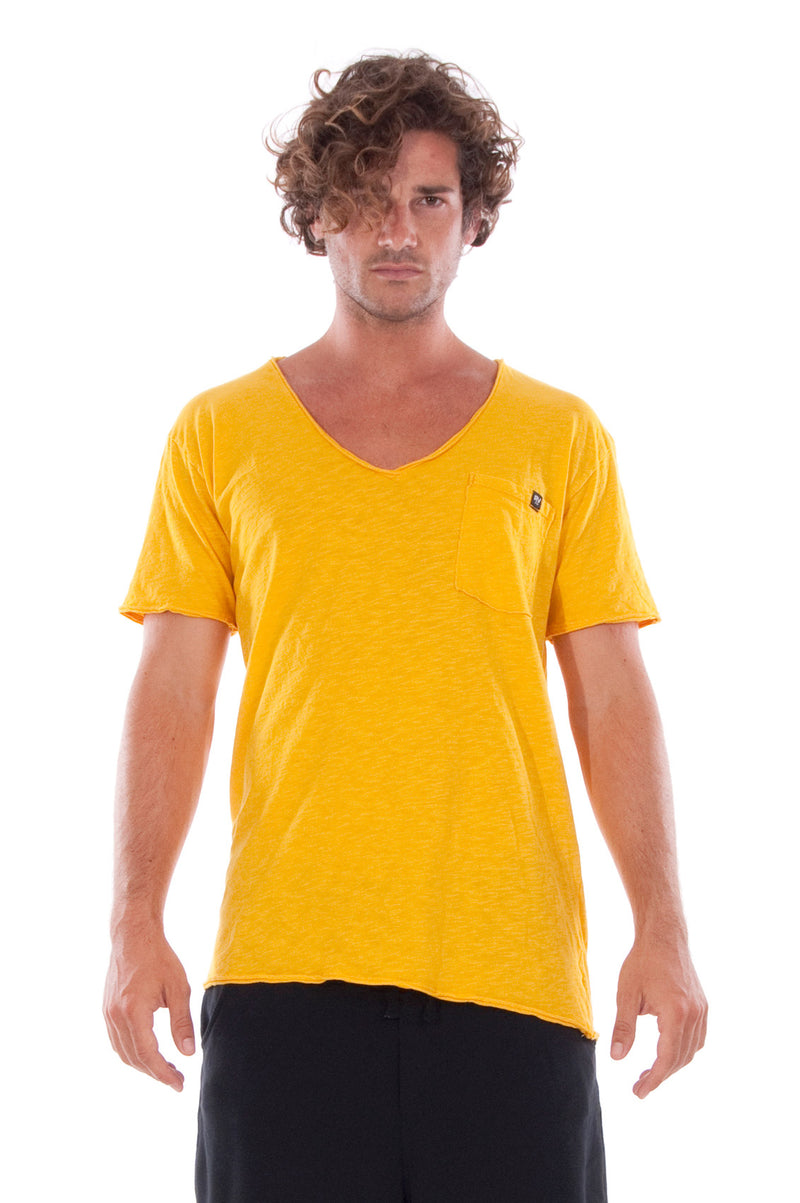 V neck - Tshirt - Cut Off - with pocket - Colour Yellow and sShort Pants - Colour Black -2