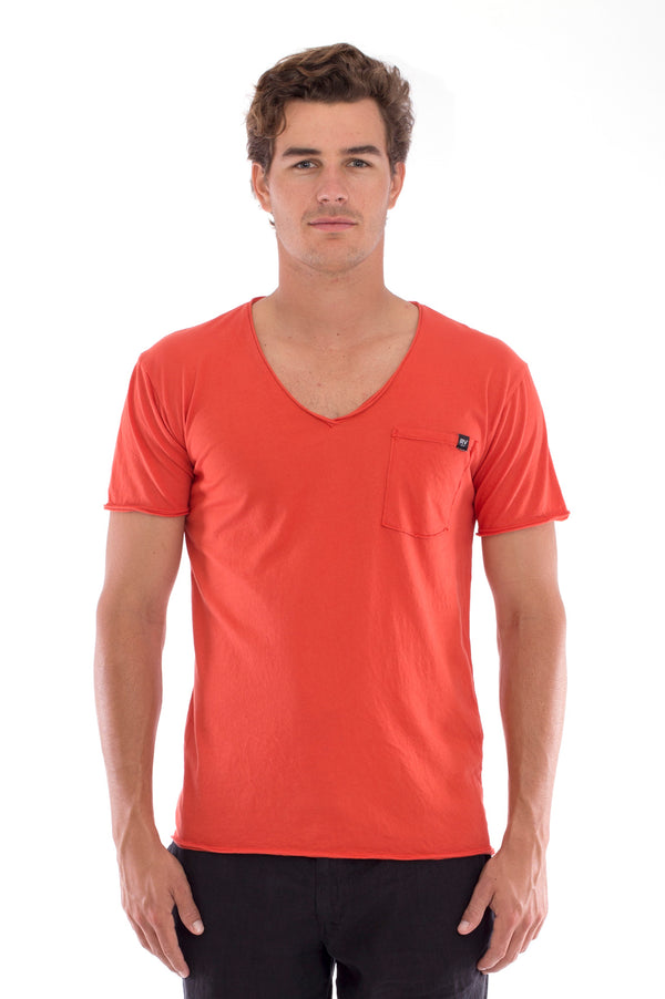 V Neck - Cut Off - Tshirt - with Pocket - Colour Terracotta and Capri Shorts - Colour Black 2