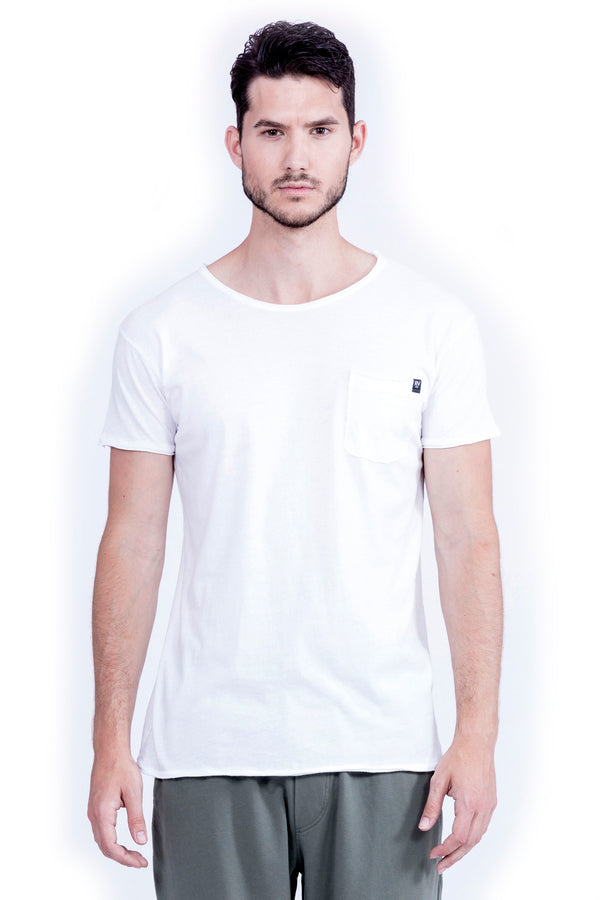 Round Neck - Tshirt - Cut Off - with pocket - Colour White - Ravens View -2
