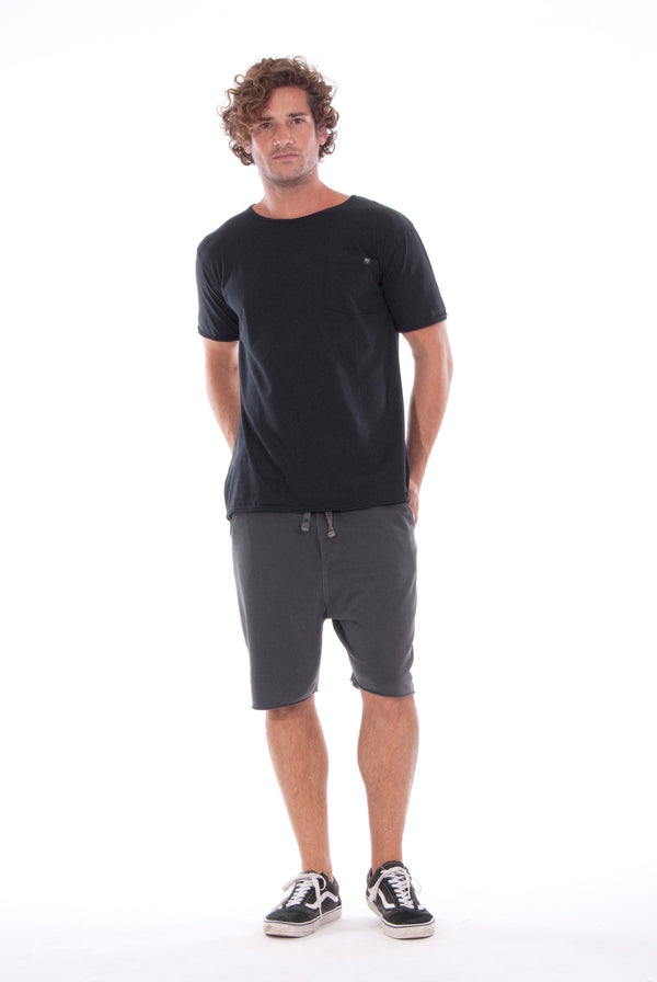 Round Neck - Tshirt - Cut Off - with pocket - Colour Black and Short Pants - Colour Anthracite -1