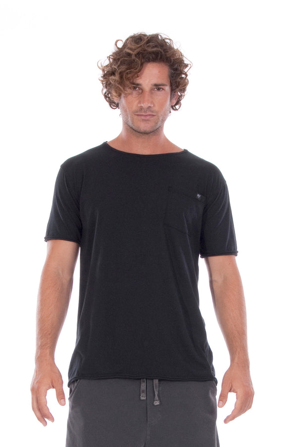 Round Neck - Tshirt - Cut Off - with pocket - Colour Black and Short Pants - Colour Anthracite -2
