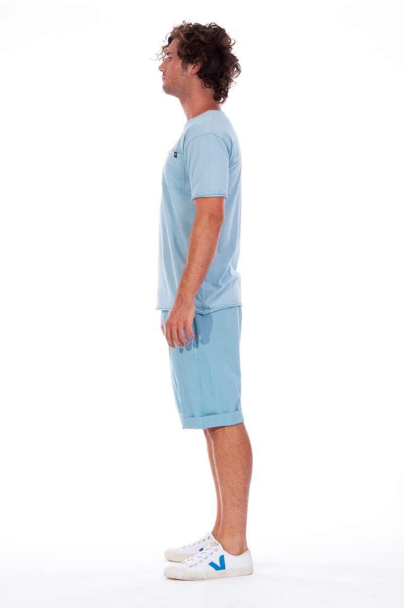 Round Neck - Tshirt - Cut Off - with pocket - Colour Blue and Raven shorts - Colour Blue -3