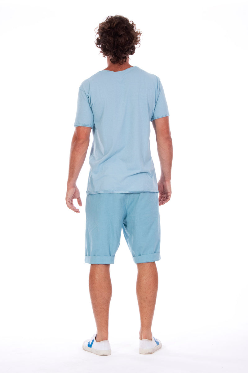 Round Neck - Tshirt - Cut Off - with pocket - Colour Blue and Raven shorts - Colour Blue -4