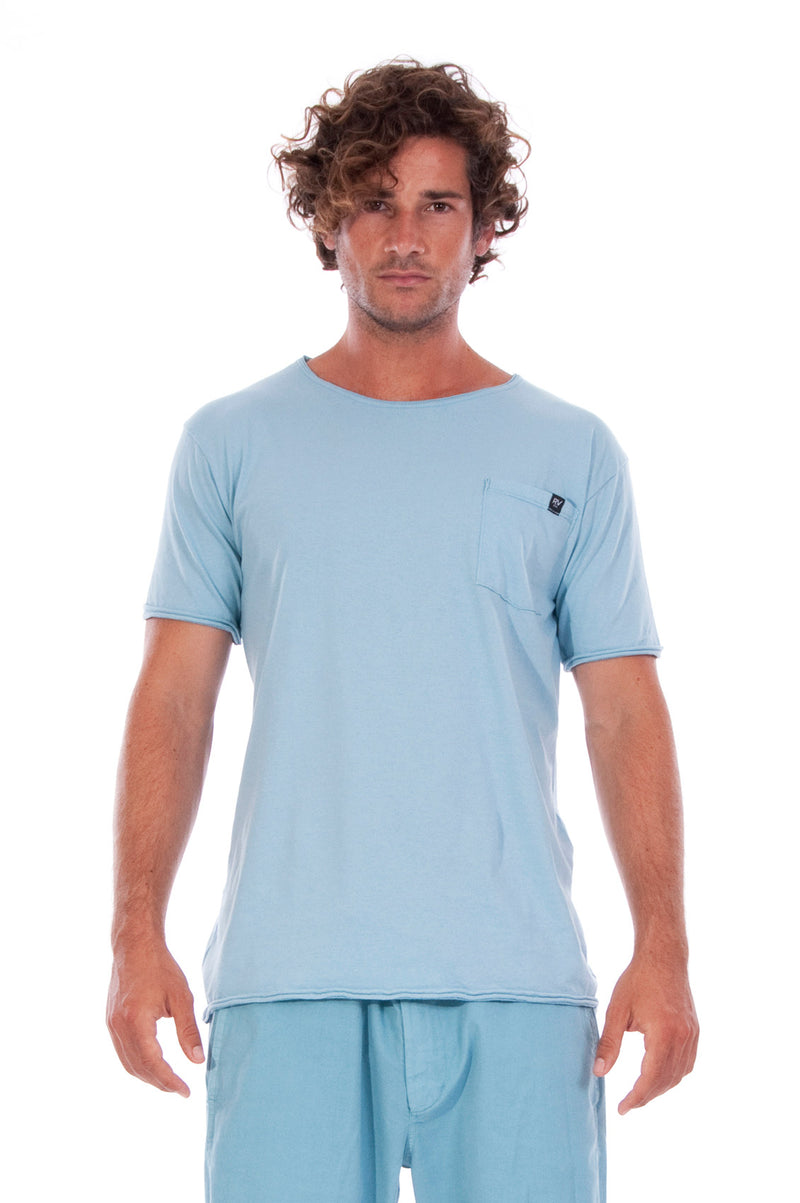 Round Neck - Tshirt - Cut Off - with pocket - Colour Blue and Raven shorts - Colour Blue -2