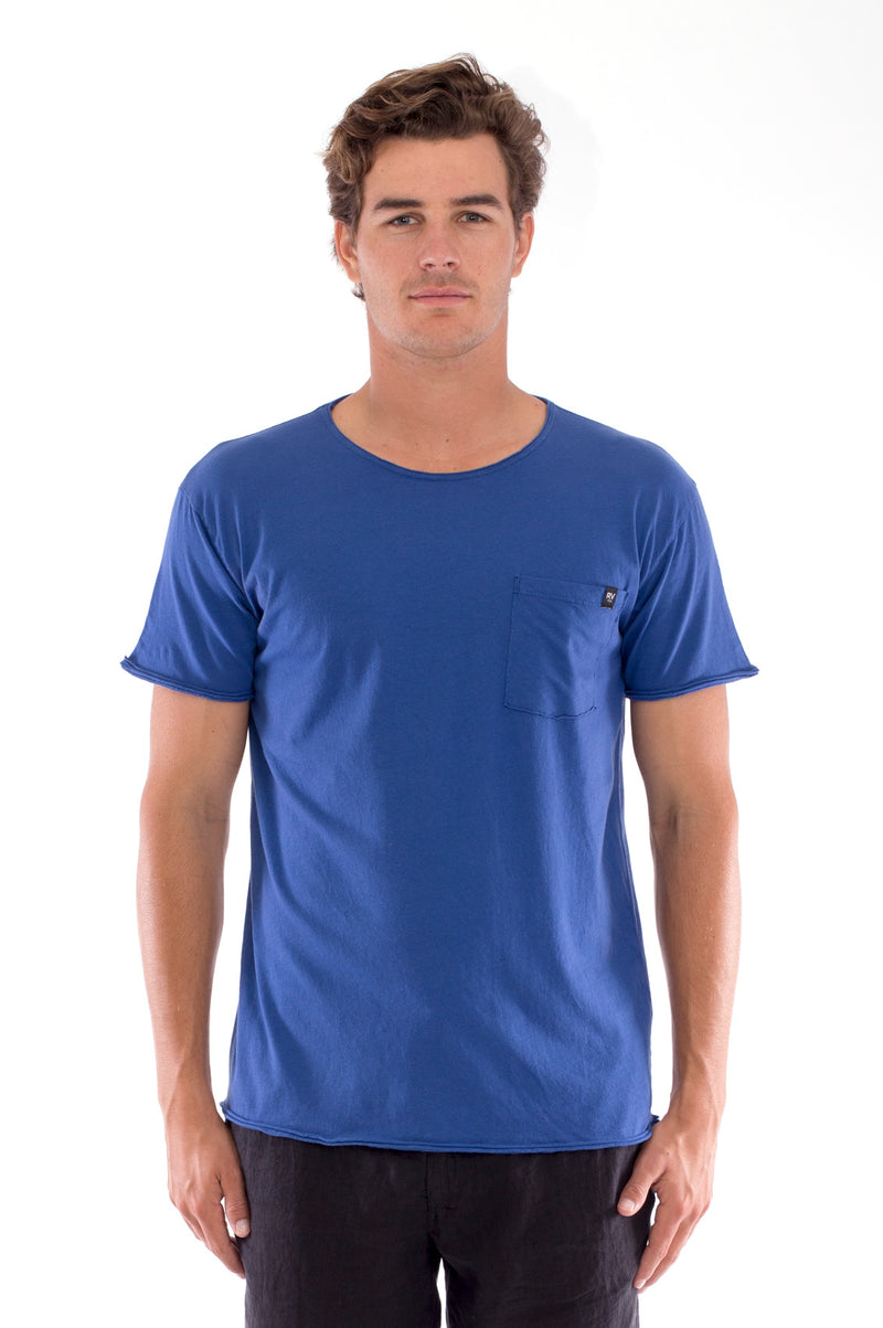 Round Neck - Cut Off - Tshirt - With Pocket - Colour Blue and Capri shorts - Colour Black -2