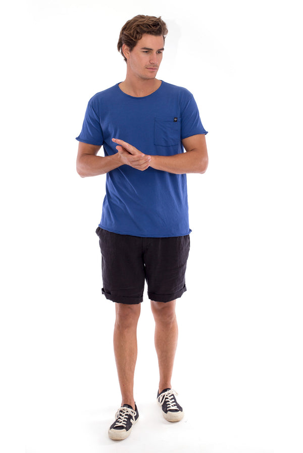 Round Neck - Cut Off - Tshirt - With Pocket - Colour Blue and Capri shorts - Colour Black -1
