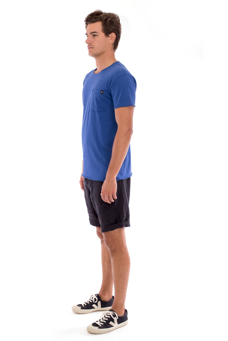 Round Neck - Cut Off - Tshirt - With Pocket - Colour Blue and Capri shorts - Colour Black -3
