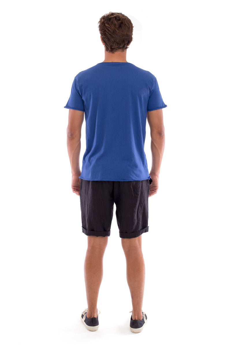 Round Neck - Cut Off - Tshirt - With Pocket - Colour Blue and Capri shorts - Colour Black -4