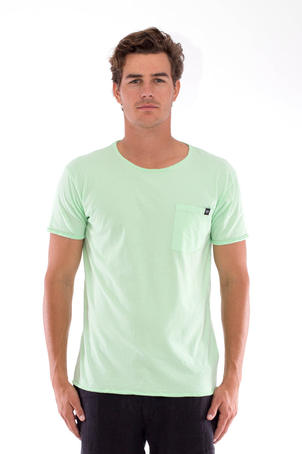 Round Neck - Cut Off - Tshirt - With Pocket - Colour Mint and Capri shorts - Colour Black -2