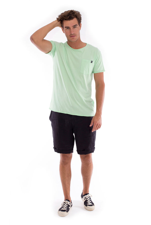 Round Neck - Cut Off - Tshirt - With Pocket - Colour Mint and Capri shorts - Colour Black -1