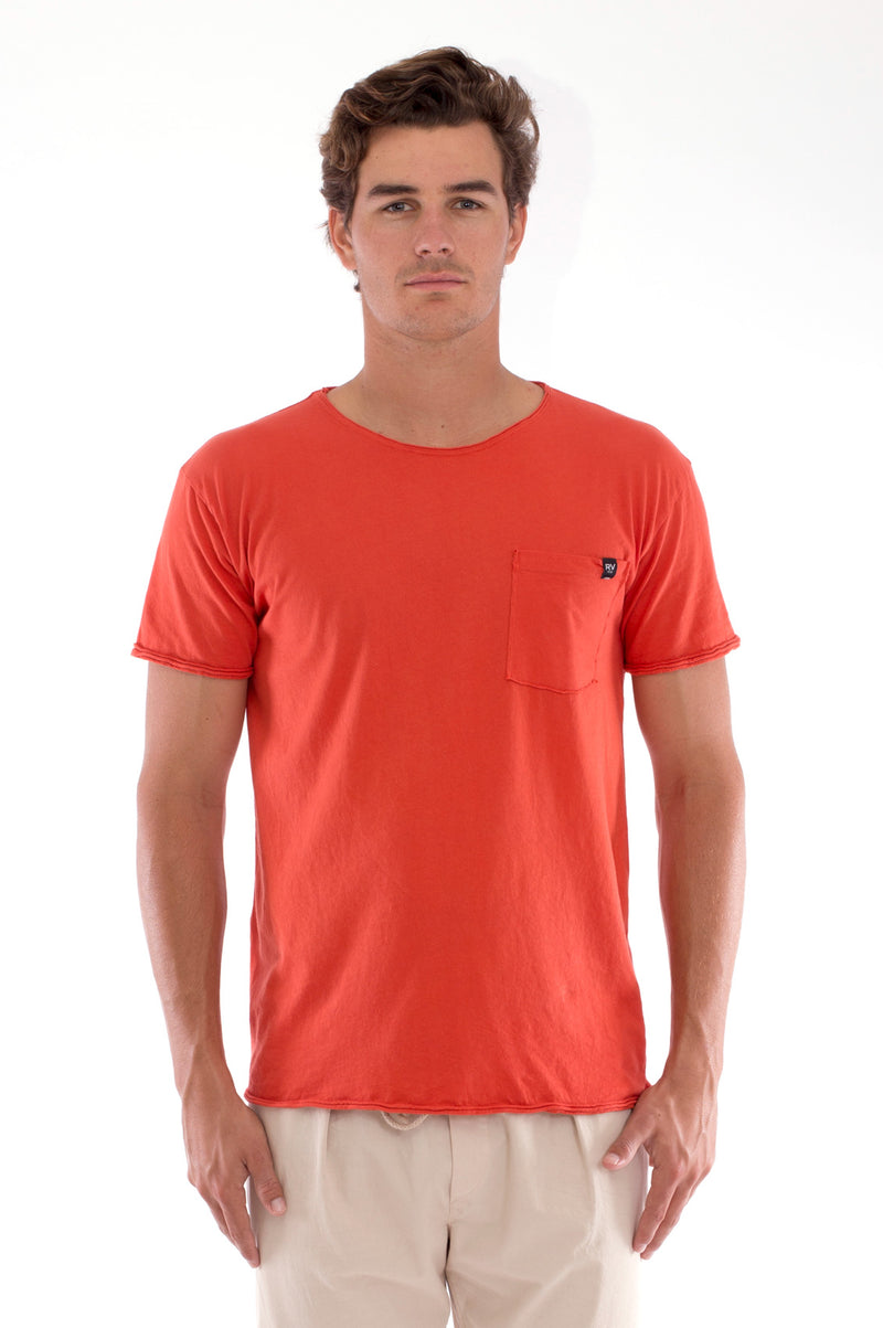 Round Neck - Cut Off - Tshirt - With Pocket - Colour Terracotta and Monaco Pants - Colour Sand 2