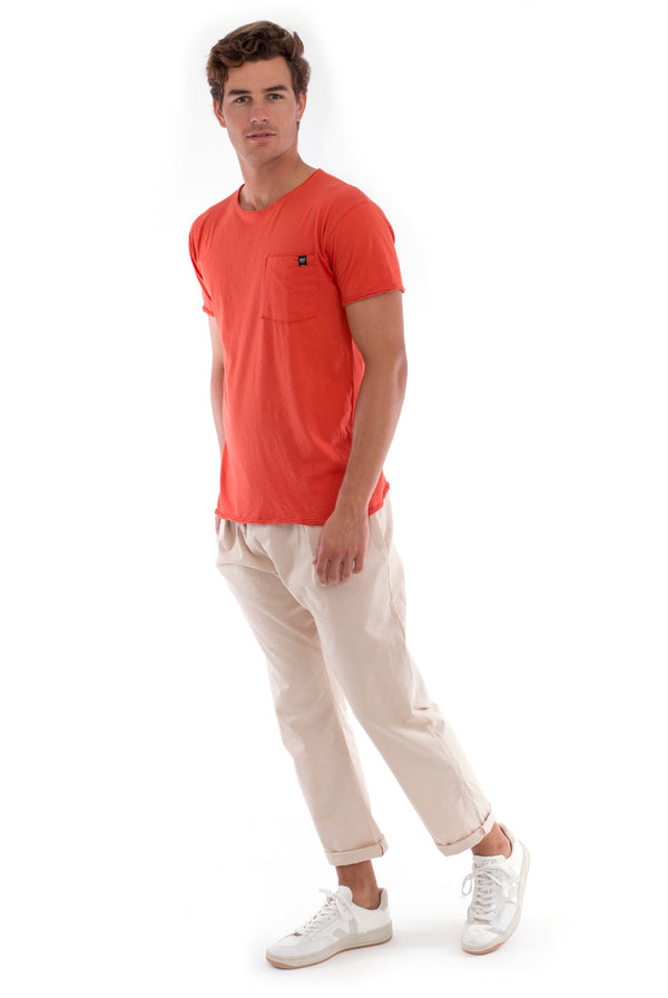 Round Neck - Cut Off - Tshirt - With Pocket - Colour Terracotta and Monaco Pants - Colour Sand 1