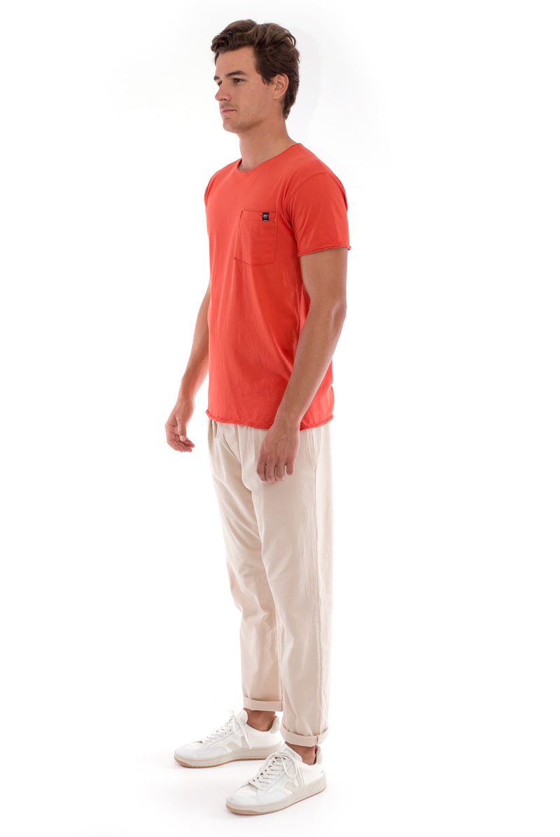 Round Neck - Cut Off - Tshirt - With Pocket - Colour Terracotta and Monaco Pants - Colour Sand 3
