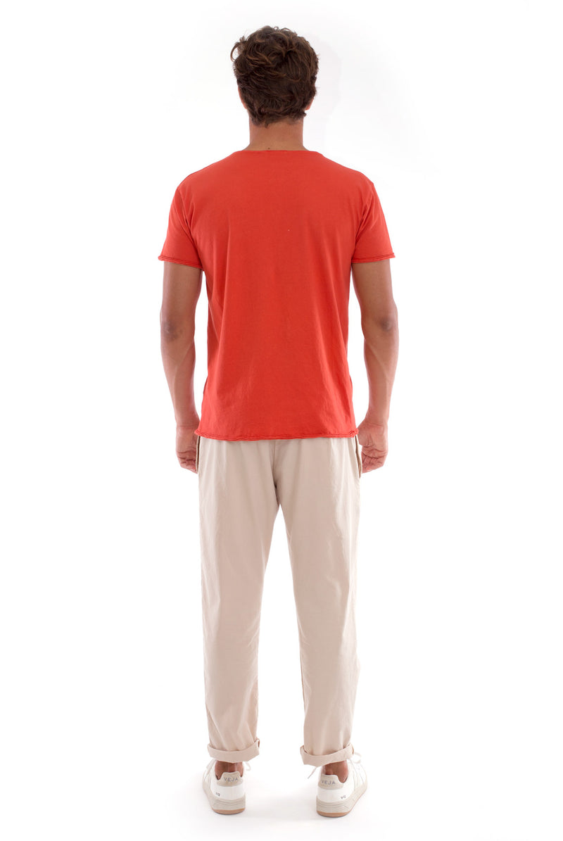 Round Neck - Cut Off - Tshirt - With Pocket - Colour Terracotta and Monaco Pants - Colour Sand 4