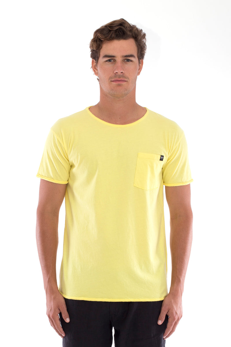 Round Neck - Cut Off - Tshirt - With Pocket - Colour Yellow and Capri shorts - Colour Black -2