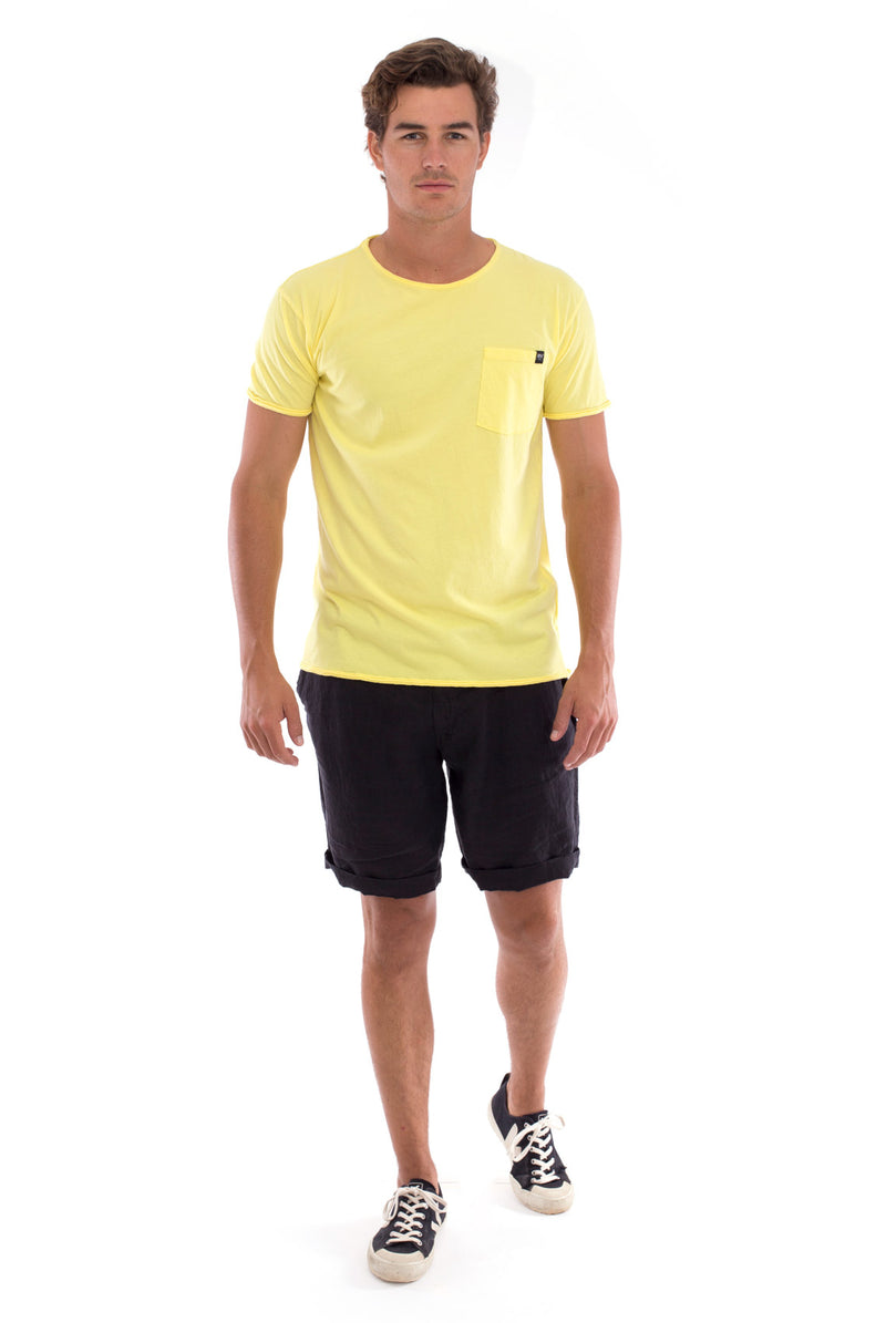 Round Neck - Cut Off - Tshirt - With Pocket - Colour Yellow and Capri shorts - Colour Black -1
