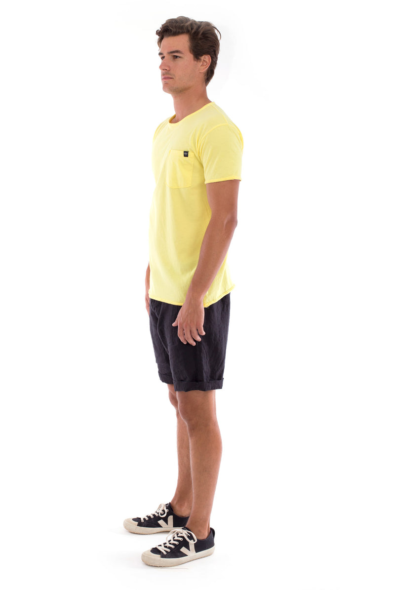 Round Neck - Cut Off - Tshirt - With Pocket - Colour Yellow and Capri shorts - Colour Black -3