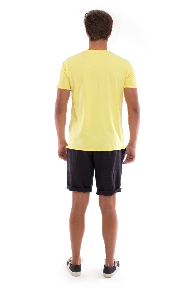 Round Neck - Cut Off - Tshirt - With Pocket - Colour Yellow and Capri shorts - Colour Black -4