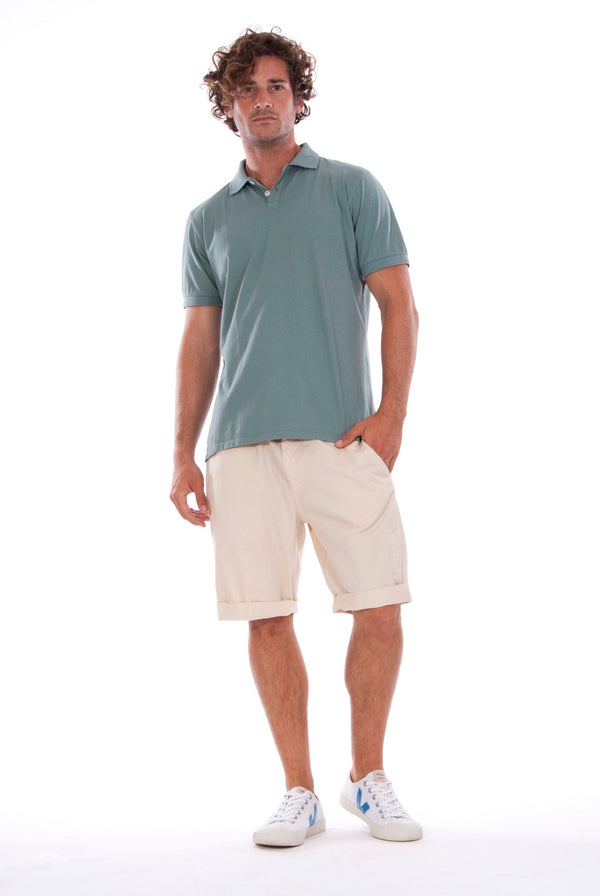 Polo - Colour Grren and Raven Shorts - Colour Sand- 1