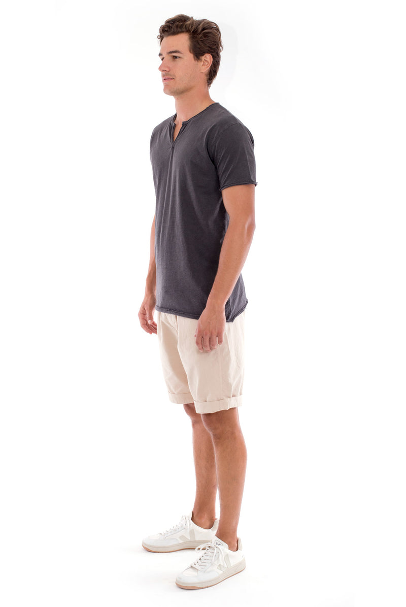 Eros Tee - Cut Off - Open Neck - Tshirt - Colour Anthracite and Raven shorts - Colour Sand 3