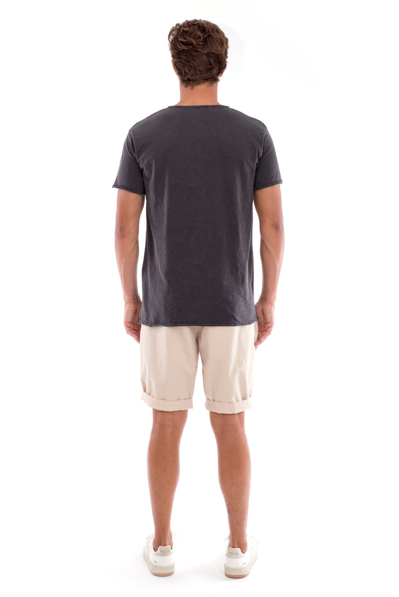 Eros Tee - Cut Off - Open Neck - Tshirt - Colour Anthracite and Raven shorts - Colour Sand 4