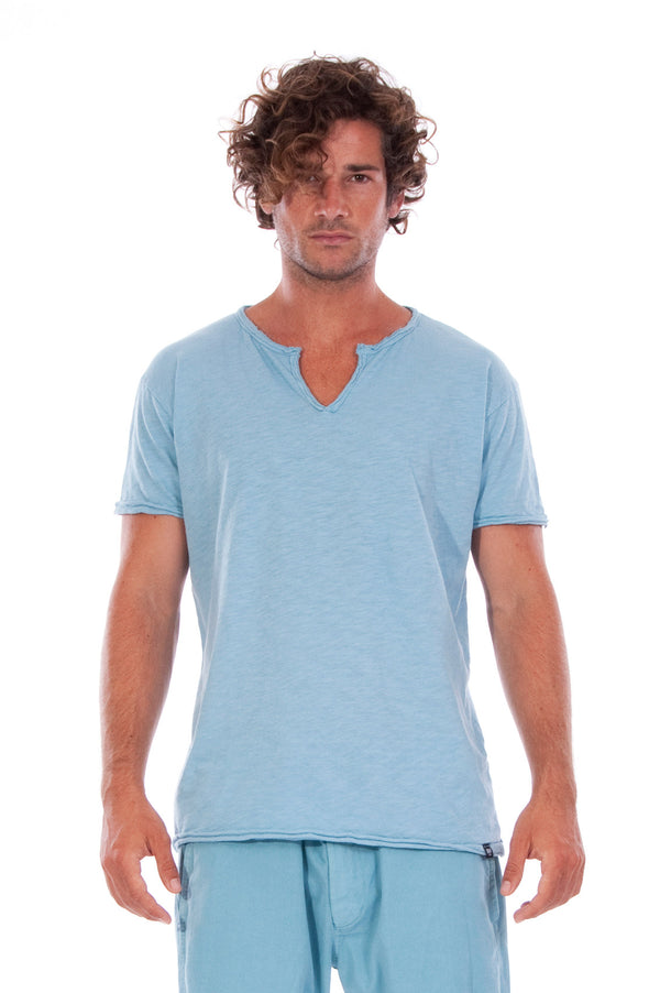 Eros Tee - Open Neck - Tshirt - Cut Off - Colour Blue and Raven Shorts - Colour Blue -2