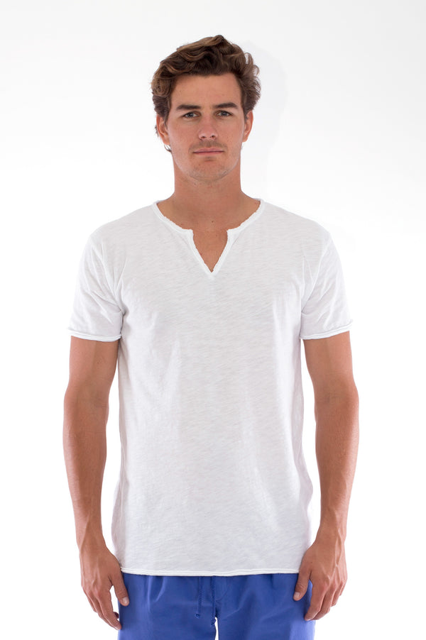Eros Tee - Cut Off - Open Neck - Tshirt - Colour white and Monaco Pants - Colour Blue 1