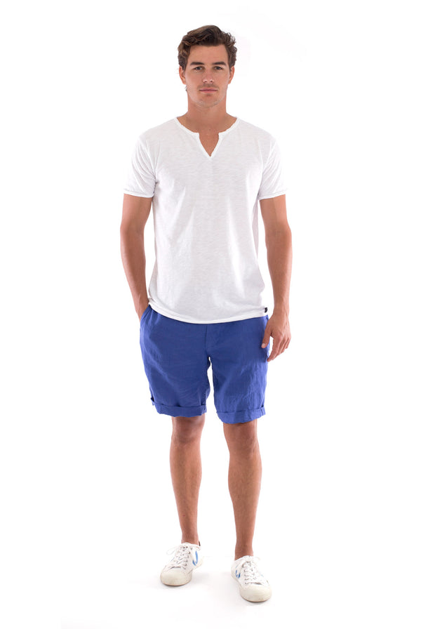 Eros Tee - Cut Off - Open Neck - Tshirt - Colour White and Capri shorts - Colour Blue