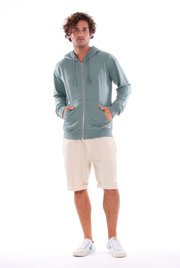 Zip Ibiza - Hoodie - Colour Green and raven shorts - Colour Sand 1