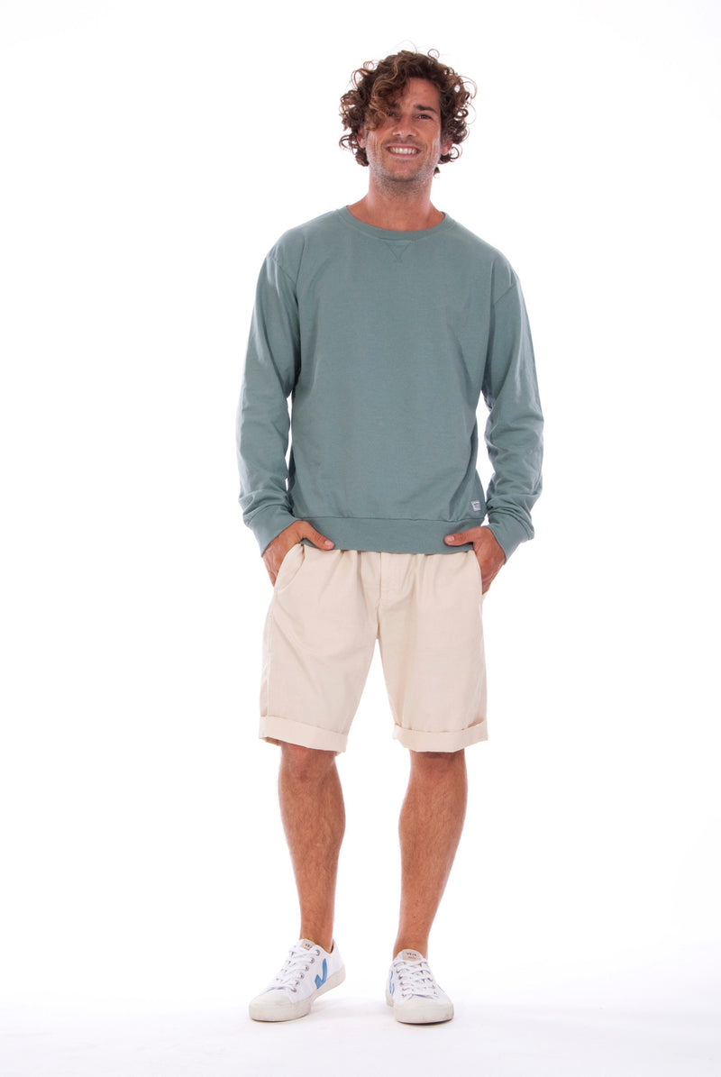Salinas - Sweatshirt - Colour Green and Raven shorts - Colour Sand - 1