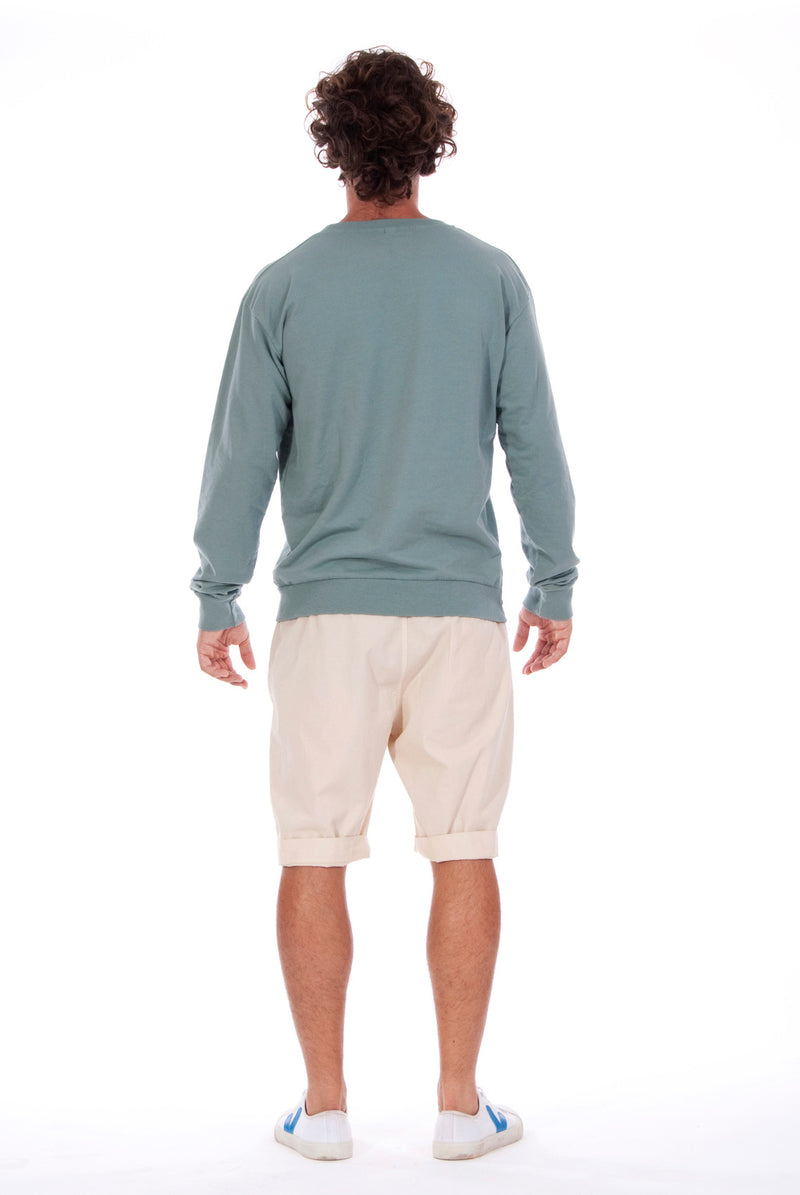 Salinas - Sweatshirt - Colour Green and Raven shorts - Colour Sand - 4