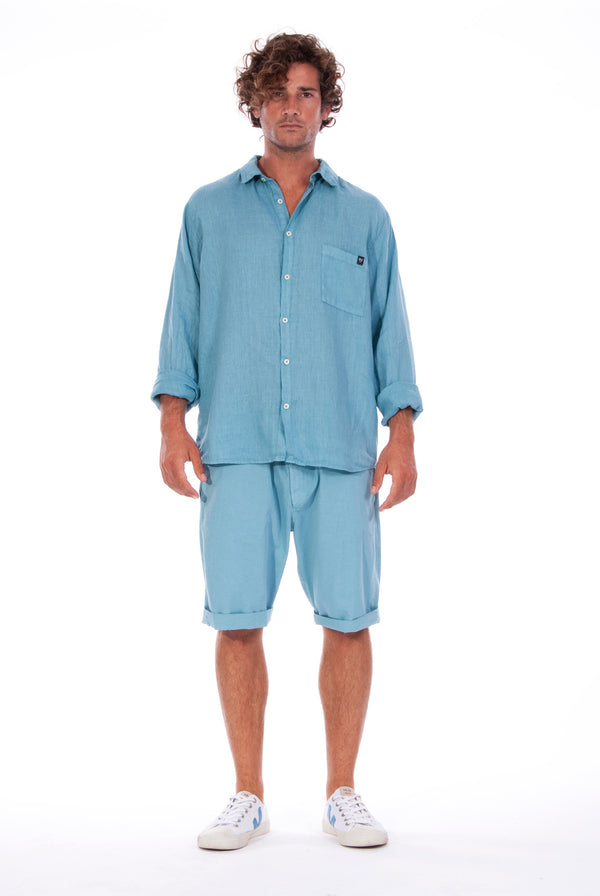 Lennon - Loose Fit - Linen Shirt -Colour Blue and Raven shorts - Colour Blue - 1