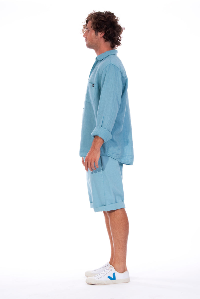 Lennon - Loose Fit - Linen Shirt -Colour Blue and Raven shorts - Colour Blue - 3
