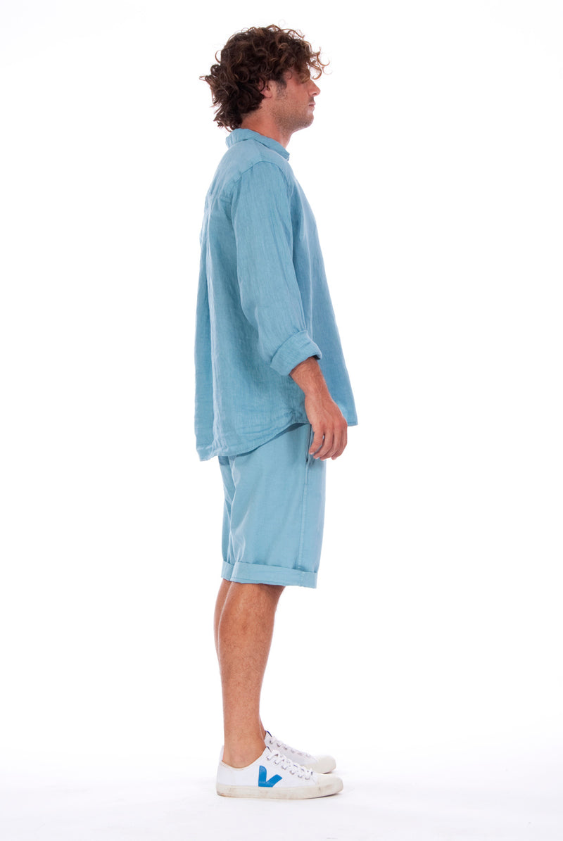 Lennon - Loose Fit - Linen Shirt -Colour Blue and Raven shorts - Colour Blue - 5