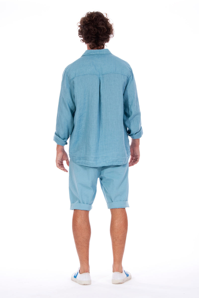 Lennon - Loose Fit - Linen Shirt -Colour Blue and Raven shorts - Colour Blue - 4