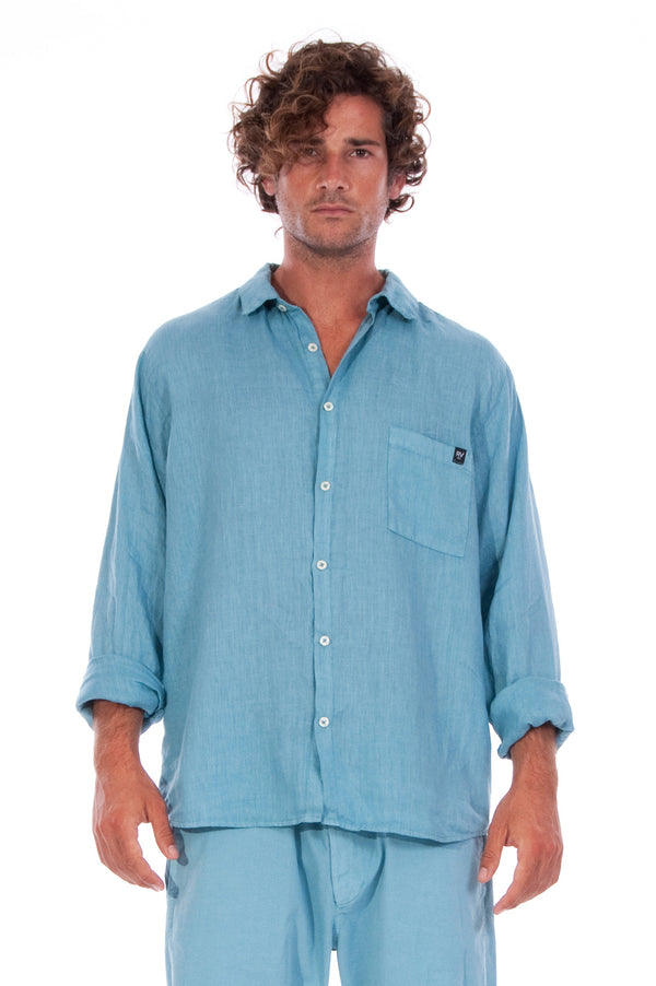 Lennon - Loose Fit - Linen Shirt -Colour Blue and Raven shorts - Colour Blue - 2