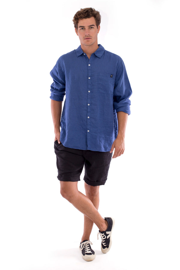 Lennon - Linen Shirt - Colour Blue and Capri Shorts - Colour Black 1