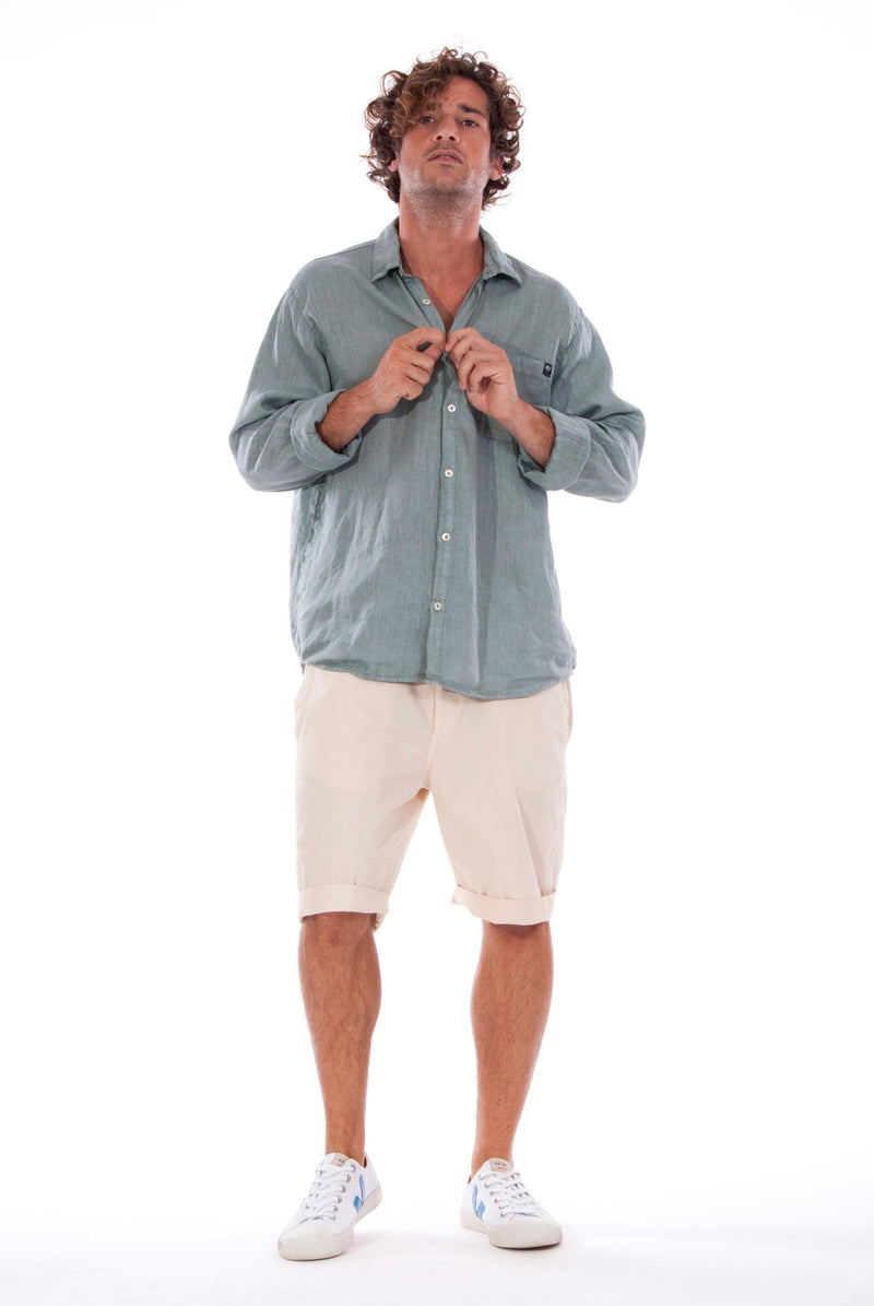 Lennon - Loose Fit - Linen Shirt -Colour Green and Raven shorts - Colour Sand - 5