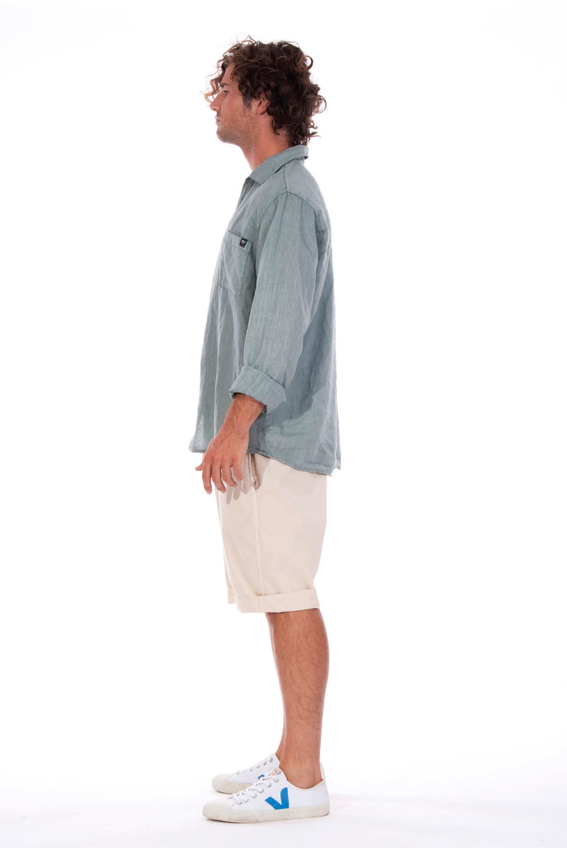 Lennon - Loose Fit - Linen Shirt -Colour Green and Raven shorts - Colour Sand - 4