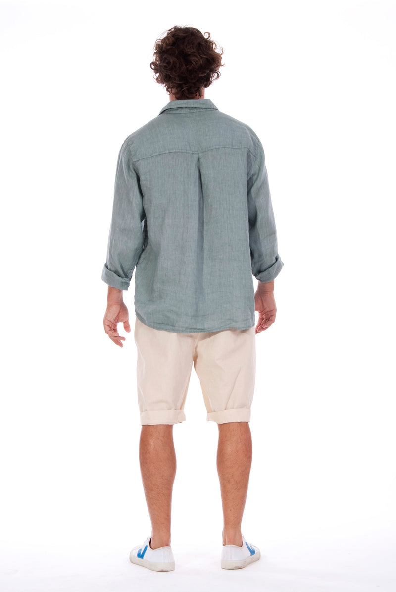 Lennon - Loose Fit - Linen Shirt -Colour Green and Raven shorts - Colour Sand - 3