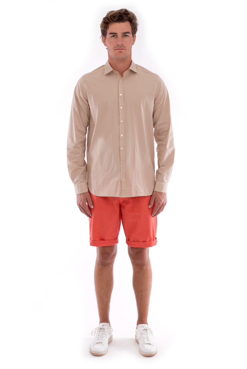 Raven - Shorts - Draw Cord Waist - Colour Terracotta and Phoenix Shirt - Colour Sand 2