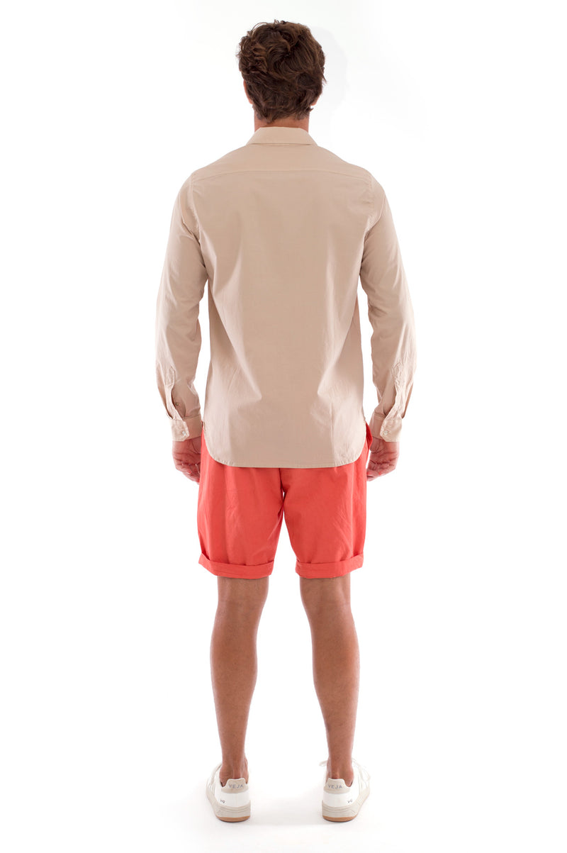 Raven - Shorts - Draw Cord Waist - Colour Terracotta and Phoenix Shirt - Colour Sand 3