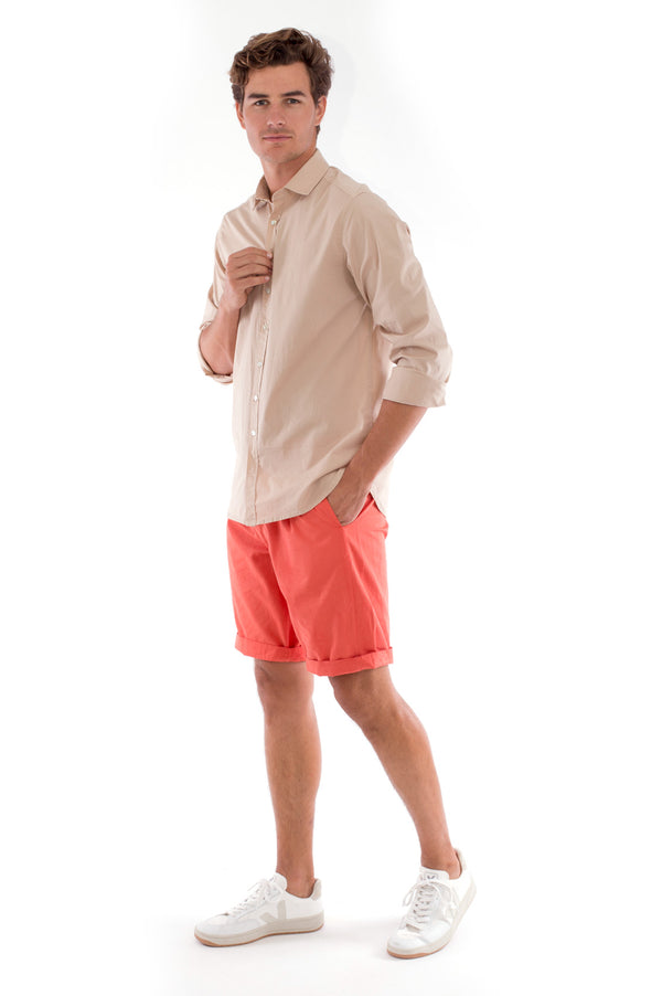 Raven - Shorts - Draw Cord Waist - Colour Terracotta and Phoenix Shirt - Colour Sand