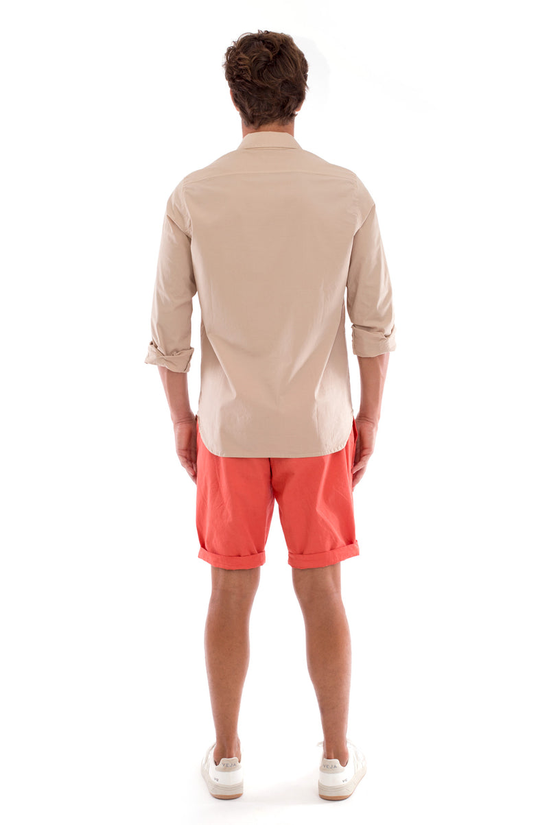 Phoenix - Shirt - Slim Fit - Colour Sand and Raven Shorts - Colour Terracotta 5